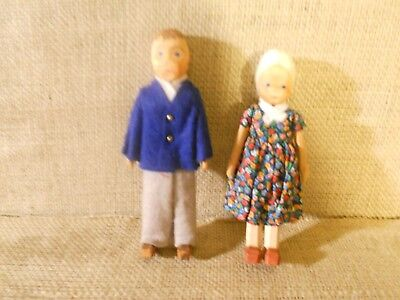 "Pair of Vintage Signed Hand Carved Painted Wooden Dolls with Clothing- ""Couple"""