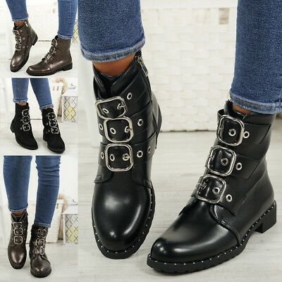 Ladies Womens Biker Ankle Boots Zip Studded Low Heel Comfy Shoes Sizes
