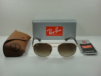 73956cee5d Authentic Ray-Ban Sunglasses Rb3593 001 13 Gold brown Gradient Lens 58Mm