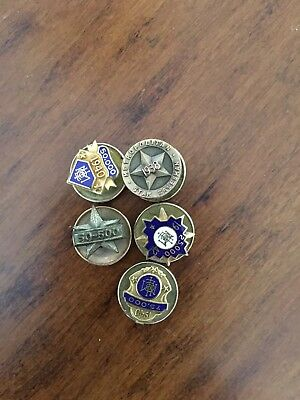 5 Met Life Service Pins. Gold Filled