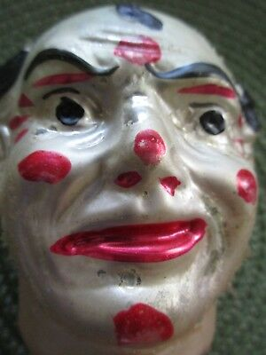 Antique German Blown Glass Ornament- Large/Early Clown Head