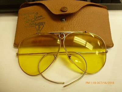 RAY BAN B&L Vintage Yellow Gold Filled Shooter Aviator Sunglasses Very Nice