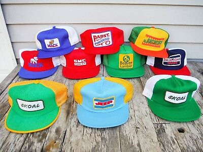 Lot Of 10 Vintage Snapback Trucker Style Hat Hats Farm Jeep Mack Truck Skoal