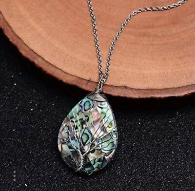 Sedmart Tree of life pendant Amethyst Rose Crystal Necklace Gemstone Chakra...