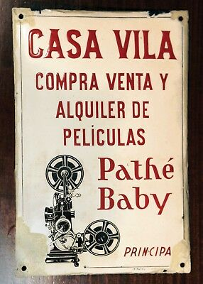 Enameled plaque announcing purchase and sale of Pathé Baby films and cameras