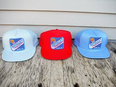 Lot Of 3 Vintage Shell Motor Oil Snapback Trucker Style Hats Mesh Patch Nos Nr!