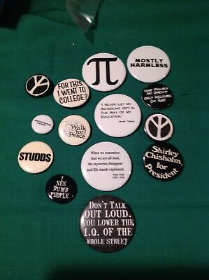 14 Pinback Buttons Some Vintage Shirley Chisholm Peace Education Etc