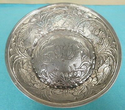 Rare Russian Provincial Silver Bowl Chased Dogs Animals Birds Tiflis Tblisi 1874