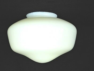 """4"""" Fitter Vintage 8-1/2"""" Wide School House White Milk Glass Ceiling Shade Fans"""