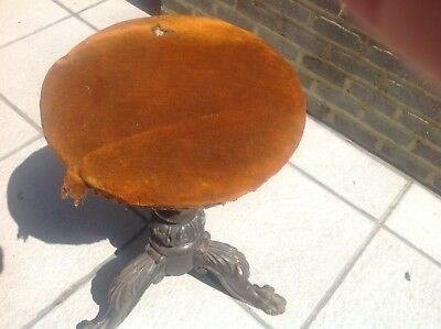 Antique Victorian Piano Stool Seat Swivel Top Old Vintage.