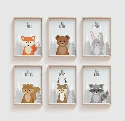 Set of 6 Woodland Animals Prints Pictures for Nursery Decor Baby Kids Room Grey