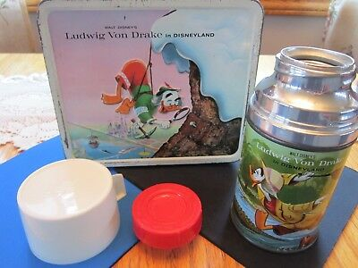 Vintage Disney Ludwig Von Drake 1962  Aladdin Lunch box with Exceptional Thermos