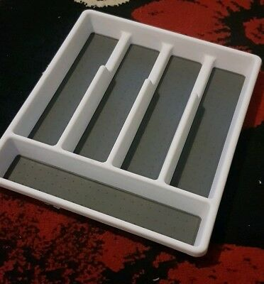 B&M Non-Slip Cutlery Tray Ideal For Organising Your Drawer Space Grey/White