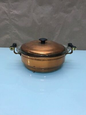 Vintage Coppercraft Copper Pot And Lid With Pyrex Warming Bowl Brass Handles D6