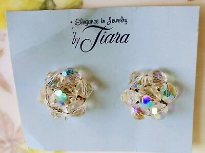 Vintage AB Glass Beaded cluster earrings New on the card by Tiara