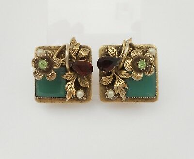 Small Vintage Gold Tone Rhinestone Faux Pearl Flower Leaf Clip On Earrings
