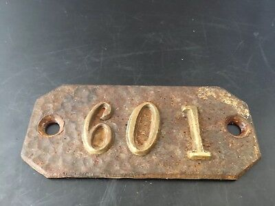 Antique Brass Steel House Apartment Numbers Plate Plaque Number 601
