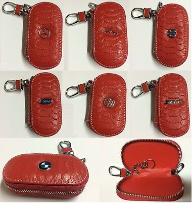 Leather Car logo Key Fob Chain Case Cover Logo Wallet Bag Red Crocodile Style