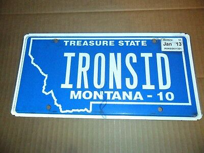 Montana License Plate Personal State Vehicle Tag Ironsid Id 2013 Rare Authentic