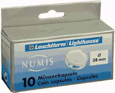 10 Lighthouse Direct Fit Coin Capsule Holders for Large Dollar, 38mm