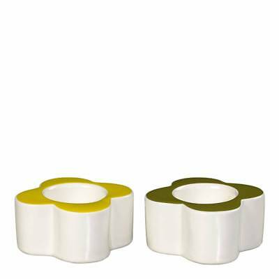 Orla Kiely Home, Abacus Flower, Pair of Ceramic Egg Cups,  Yellow & Green, Boxed
