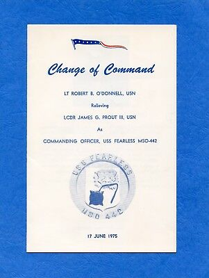 USS Fearless MSO 442 Change of Command Navy Ceremony Program