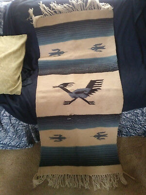 Vintage Wool Chimayo Rug with Road Runner C. 1960 (exact date unknown)
