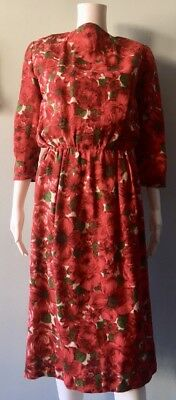 1950s Red Wool Floral Pencil Dress Classic Casual Simple Day Wear Autumn Small