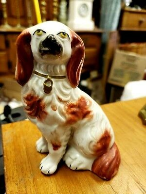 Antique English Staffordshire King Charles Spaniel Figure Foot Away From Body