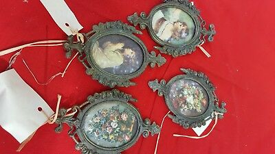 Set of 4 Vintage Small Ornate Italian Oval Brass Framed Pictures Photos Italy