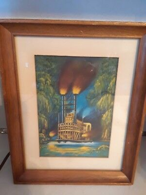 Vintage 50s ECONOLITE 1953 On the Bayou STEAMBOAT Motion Lamp RARE