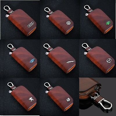 Leather Car logo Key fob Chain Key Case wallet bag Remote Control Cover Brown