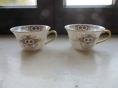 2 limoges tasses art deco - Elte - 2 cups - no saucers - rare and collectible