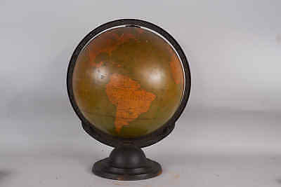 "Antique 1930s George F Crams 12"" Terrestrial World Globe on Art Deco Base 1931"