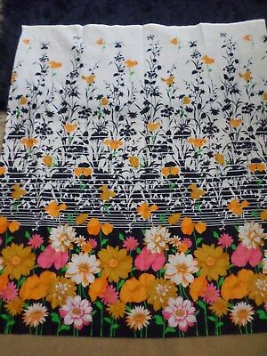 Retro Orange Pink Black And White Floral Light Cotton Synthetic Blend Fabric..