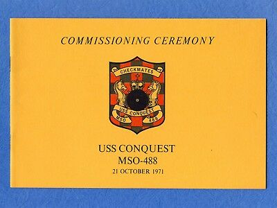 USS Conquest MSO 488 Commissioning Navy Ceremony Program
