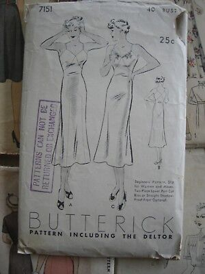 Vintage 1930s Sewing Pattern Ladies Dress Slip Dress Bias Cut or Straight Cut