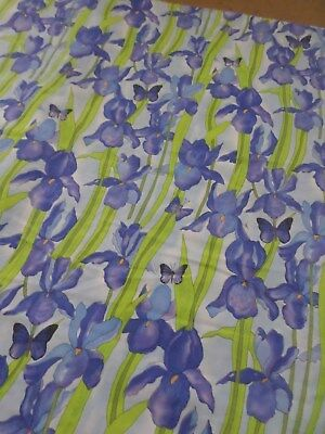 Retro Blue And Green Floral Iris And Butterfly Cotton Sheet Fabric..