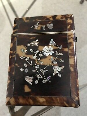 Brown Shell And Mother Of Pearl Card Case