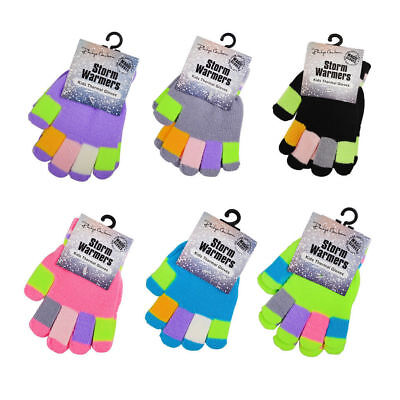 Boys & Girls Unisex Children's Winter Magic Gloves Stretchy Knitted 6 Colours