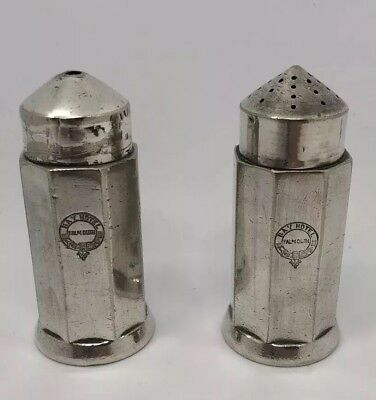 ELKINGTON Salt and Pepper Shakers Silver Plate - Bay HOTEL Falmouth - Rare 1938