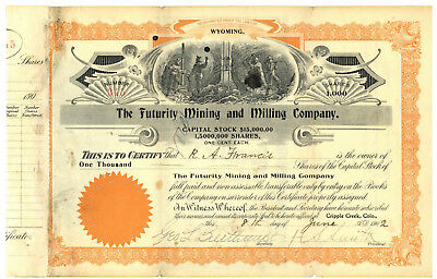 Futurity Mining and Milling Company. Stock Certificate. Cripple Creek, Colorado