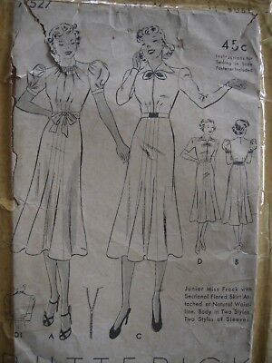 Vintage 1930s Sewing Pattern Ladies Dress Long or Short Sleeves