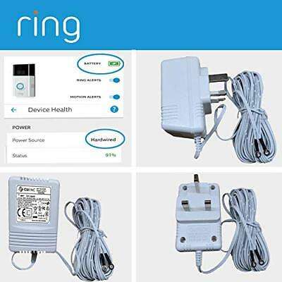 WHITE Power Supply Battery Charger Adapter For Ring Video Doorbell  Doorbell 2