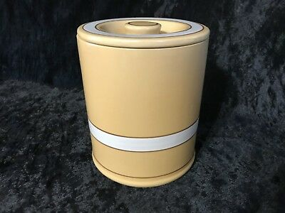 """Over & Back White/Brown Stripes YELLOW WARE 6 1/2"""" Tall Canister & Lid"""