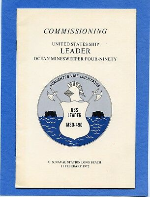 USS Leader MSO 490 Commissioning Navy Ceremony Program