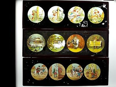 Vintage Set Of 12 Original Large Ernst Plank Magic Lantern Color Glass Slides