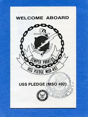 USS Pledge MSO 492 Welcome Aboard Navy Ceremony Program