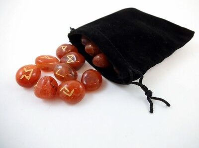 Carnelian Rune Gemstone set of 25 w/ Velvet Pouch Wicca Pagan Viking Norse Reiki