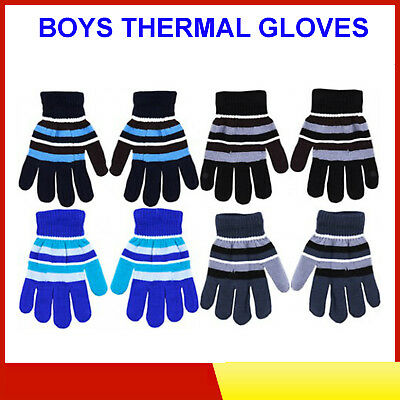Striped Boys Gloves - For Outdoor Winter Warmth For Cold Hands-Blue/Grey/Black